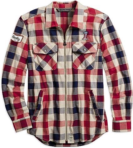 Harley-Davidson Camisa a cuadros #1 con cremallera para hombre