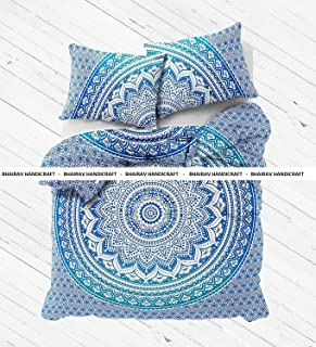 BHAIRAV HANDICRAFT New Full Indian Medallion Cotton Mandala Blue Ombre Duvet Cover -Hippie Bohemian Doona Set - Twin Size Blanket Quilt Cover Bedspread Bedding Comforter Cover with 2 Pillow Covers