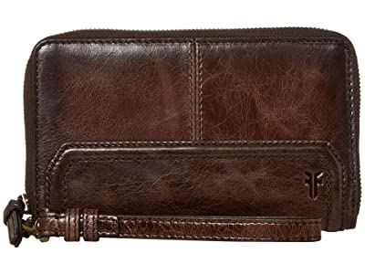 Frye Mel Zip Wallet (Dark Brown) Wallet Handbags