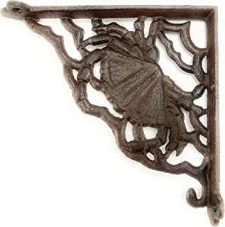 Crab Shelf Bracket, Heavy Cast Iron Wall Mount, Indoor or Outdoor Use, Rustic Brown Color Finish, Old Primitive Design, 8 Inch by 8 Inch by 1/4 Inch Thick