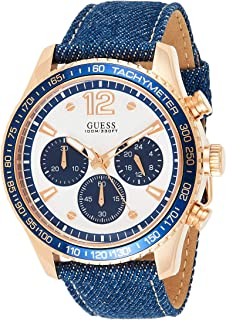 Guess Men's Quartz Watch, Chronograph Display and Leather Strap W0970G3