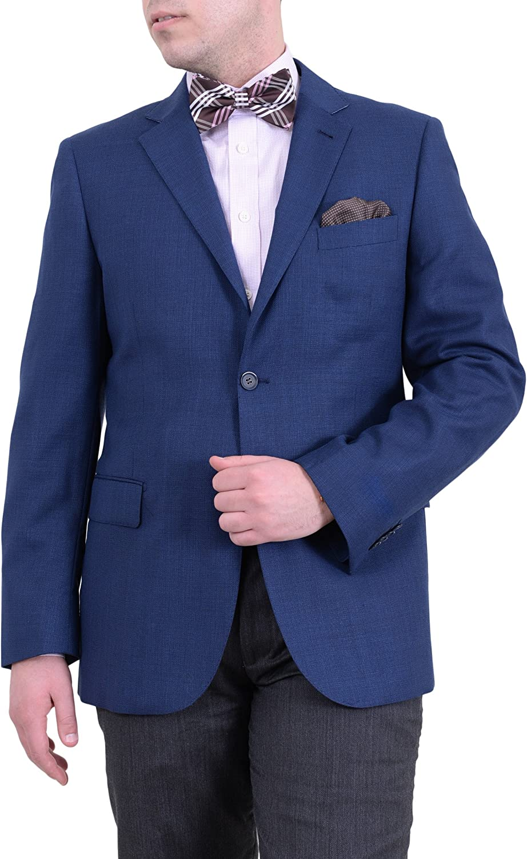 Zanetti Regular Fit Solid Blue Hopsack Weave Two Button Wool Blazer Sportcoat