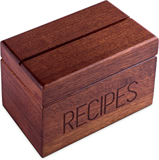 Sapele Recipe Box with Cards and Dividers by Apace - Vintage Style Wood 4x6 Recipe Holder Card Box - Exclusively from the Apace Living Premier Collection - Fits 240 Cards