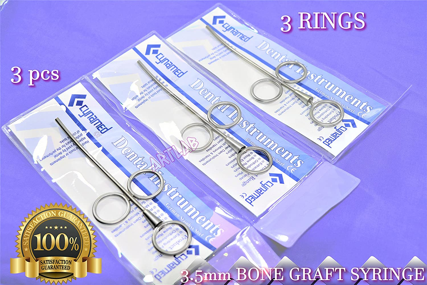 Super special price Premium Curved Bone GRAFT Syringe with 3.5mm 3PCS German OFFicial 3 Rings