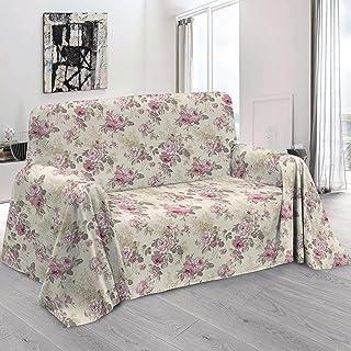 HomeLife – Foulard Multiusos – Tela Decorativa Cubre sofá con Elegante diseño Floral de Rosas, 160x280, fabricación Italiana – Granfoulard de algodón – Cubrecama Individual (Cama 1 Plaza) – Gris