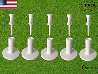 FINGER TEN Golf Rubber Tee Driving Range Value 5 Pack for Indoor Outdoor Practice Mat, Tee Adaptor Size 1.5'' 2.0'' with Free 6pcs Castle Tees