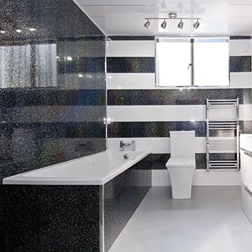 5 Black Sparkle Diamond Effect PVC Bathroom Cladding Shower Wall Panels