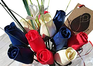 The Original Wooden Rose Patriotic Holiday Flowers RED, White, and Blue Fourth of July Memorial Day Presidents Day (1 Dozen)
