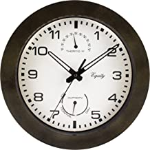 Equity by La Crosse 29005 Outdoor Thermometer and Humidity Wall Clock, 10