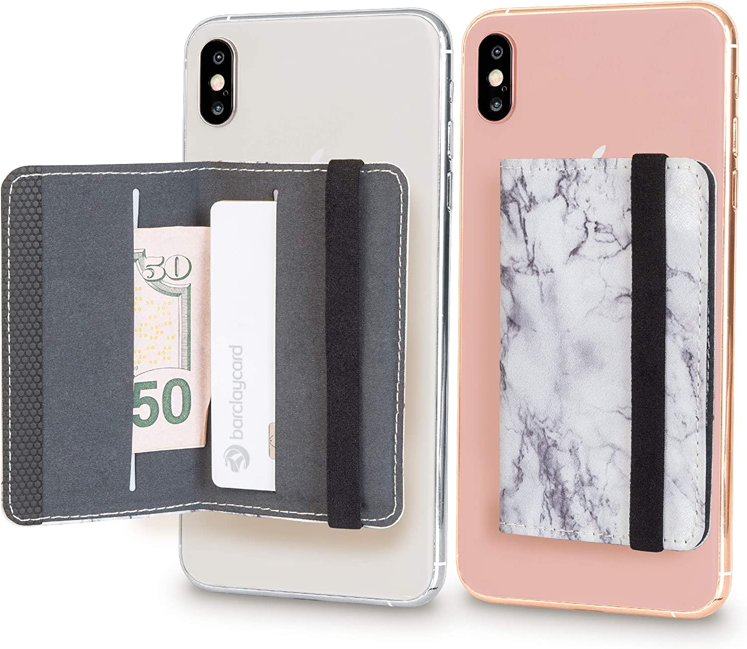 Cell Phone Card Holder Stick on Wallet Phone Pocket for iPhone, Android and All Smartphones with Strap (White Marble)