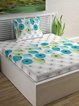 Divine Casa Sense Cotton Single Bedsheet with Pillow Cover - Floral, Turquoise and Patina Green