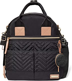 Skip Hop Skip Hop Suite 6-in-1 Diaper Backpack Set, Multi-Function Baby Travel Bag with Changing Pad, Stroller Straps, Bottle Bag and Pacifier Pocket, Vegan Leather, Black with Gold Trim