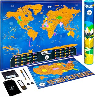 Scratch Off Map of The World Poster | Travel Bucket List Edition | + Premium Scratch Off USA Map | Easy Scratch Technology | Includes 6 Scratch Map Accessories | Perfect Travel Gift, by CJ Creations