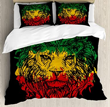 Ambesonne Rasta Duvet Cover Set, Ethiopian Flag Colors on Grunge Sketchy Lion Head with Black Backdrop, Decorative 3 Piece Bedding Set with 2 Pillow Shams, Queen Size, Lime Green