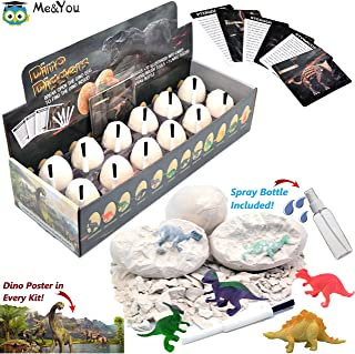 Dinosaur Toys, Dino Egg Dig Kit for Kids - Break Open 12 Unique Dinosaur Eggs and Discover 12 Cute Dinosaurs - Archaeology Science Kit STEM Kids Toys for Age 3, 4, 5, 6, 7+ Year Old Boys Girls Gifts