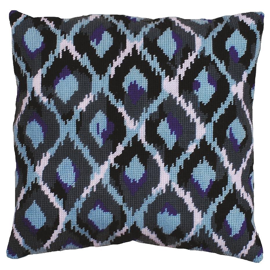 Tobin Needlepoint Kit Stitched in Yarn, 12 by 12-Inch, Blue Ikat