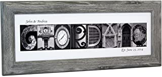 Creative Letter Art Personalized Name in Black and White Architecture from Original Alphabet Photograph Letters for Personalized Gift, Anniversary, Baby Name (Driftwood Frame)