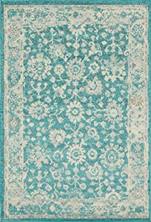 Unique Loom Penrose Collection Vintage Traditional Distressed Turquoise Area Rug (5' 3 x 7' 7)