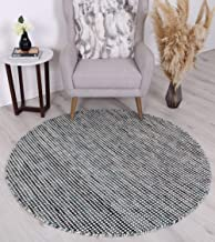 Home Culture Soft Scandi Teal Reversible Wool Round Rug-Durable Indoor Carpets for Bedroom, Living Room, High Traffic Area...