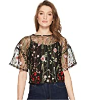 ROMEO & JULIET COUTURE - Floral Embroidery Sheer Top