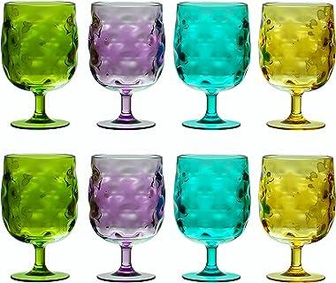 QG Conjunto de 8Colorful apilables 12oz Plástico Acrílico potable vaso de vidrio Set en 4colores surtidos