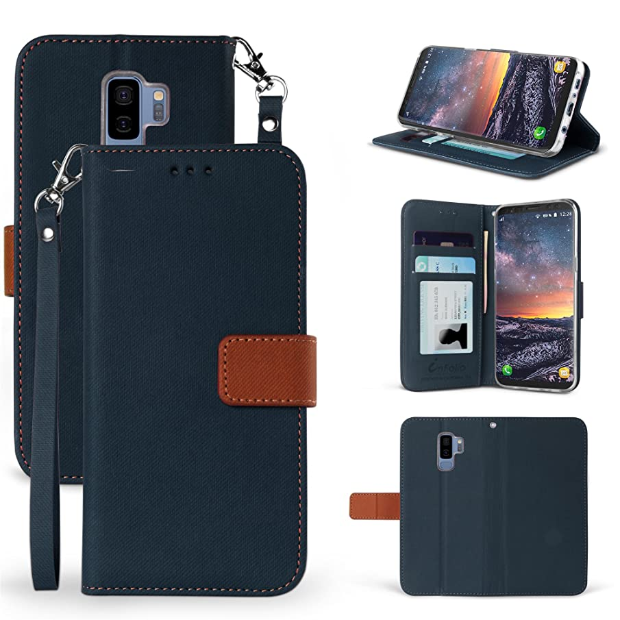 for Galaxy S9 Plus Case, Beyond Cell for Faux Leather Hybrid Flip Wallet Cover with Phone Strap Card Slots Magnetic Flap Closure - Dark Blue