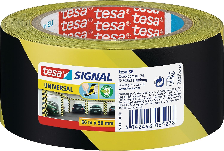 Tesa 58134-00000-00 Nastro Adesivo da Segnalazione Giallo//Nero Bianco//Rosso /& 58133-00000-00 Nastro Adesivo da Segnalazione