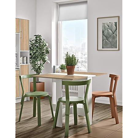 Table Pliante à Abattant Papillon, Chêne Blanc, 73.4 x 103 x 76 cm