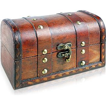 Brynnberg - Caja de Madera Cofre del Tesoro Pirata de Estilo Vintage, Hecha a Mano, Diseño Retro 17x10x10cm: Amazon.es: Hogar