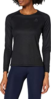 Odlo Women's Bl Top Crew Neck L/S Active F-Dry Light Vest, Womens, 141061, Black, XXX-Large