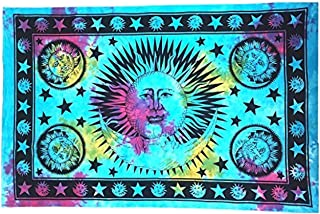 Your Spirit Space (TM Blue Sun Moon Tapestry - Hippie Hippy Wall Hanging Indian Mandala Tapestry - The Bohemian Tie Dye Wall Decor