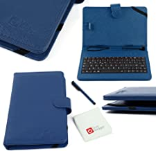 DURAGADGET Blue Faux Leather AZERTY French Keyboard Case W/Micro USB & Stand - Compatible with Tesco Hudl 2