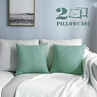 NANPIPER 2 Packs Square Decorative Throw Pillow Cover 18x18 Inch 45x45 cm Teal Green Cushion Pillowcase, Comfortable Cushion Covers for Sofa Home Couch