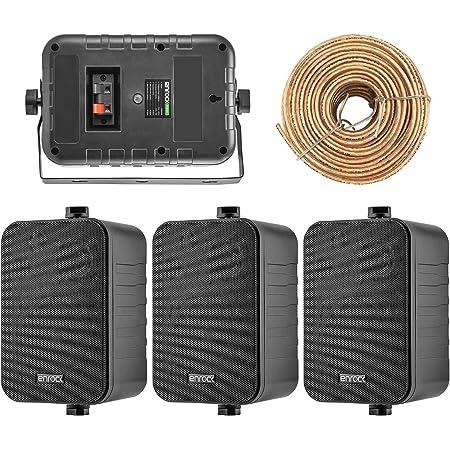 4X Speakers Bundle Package: 2 Pairs of Enrock Audio EKMR408B 4-Inch 200 Watts Black 3-Way Indoor/Outdoor Marine Boat Box-Speaker Combo with 50 Foot 18 Guage Speaker Wire
