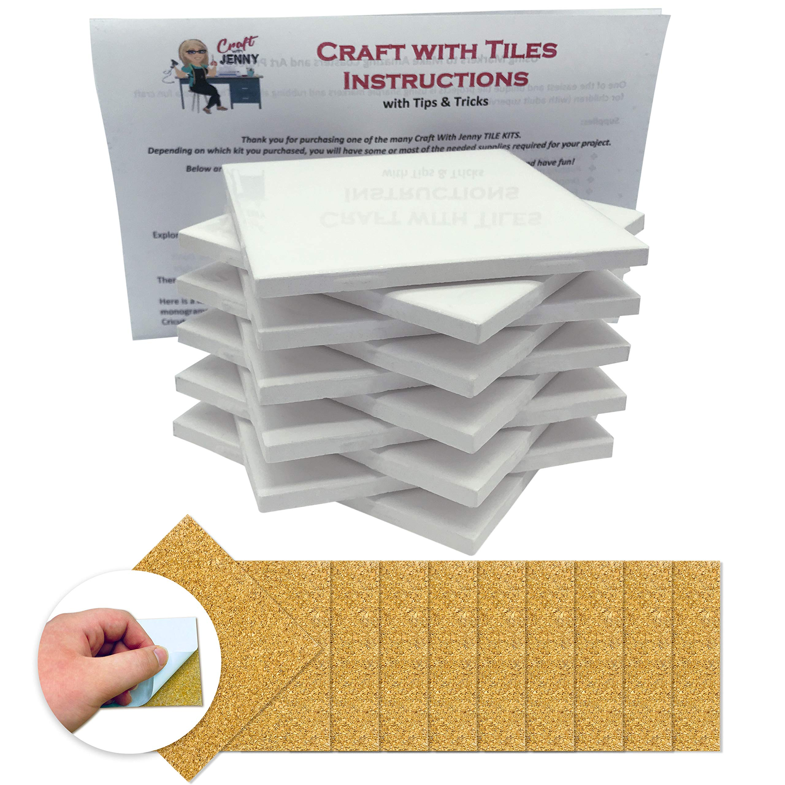 Amazon Com Coaster Tile Craft Kit Set Of 10 Glossy Ceramic White Tiles 4x4 W Detailed Instructions Plus Tips And Tricks Diy Make Your Own Coasters Mosaics Painting Projects Decoupage Alcohol Ink