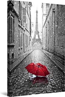 Startonight Canvas Wall Art Black and White Abstract Red Umbrella on the Street - Large Framed 80 x 120 cm
