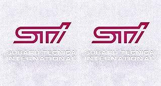 Click2Go Racing Decal Sticker For Subaru Technica International WRX STI (2 Pieces Pink / White)