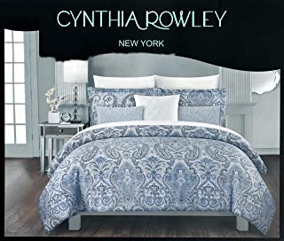 Cynthia Rowley 3pc Full Queen Cotton Duvet Cover Set Paisley Moroccan Medallion Coral Red Blue Taupe (Queen, Indigo Blue)