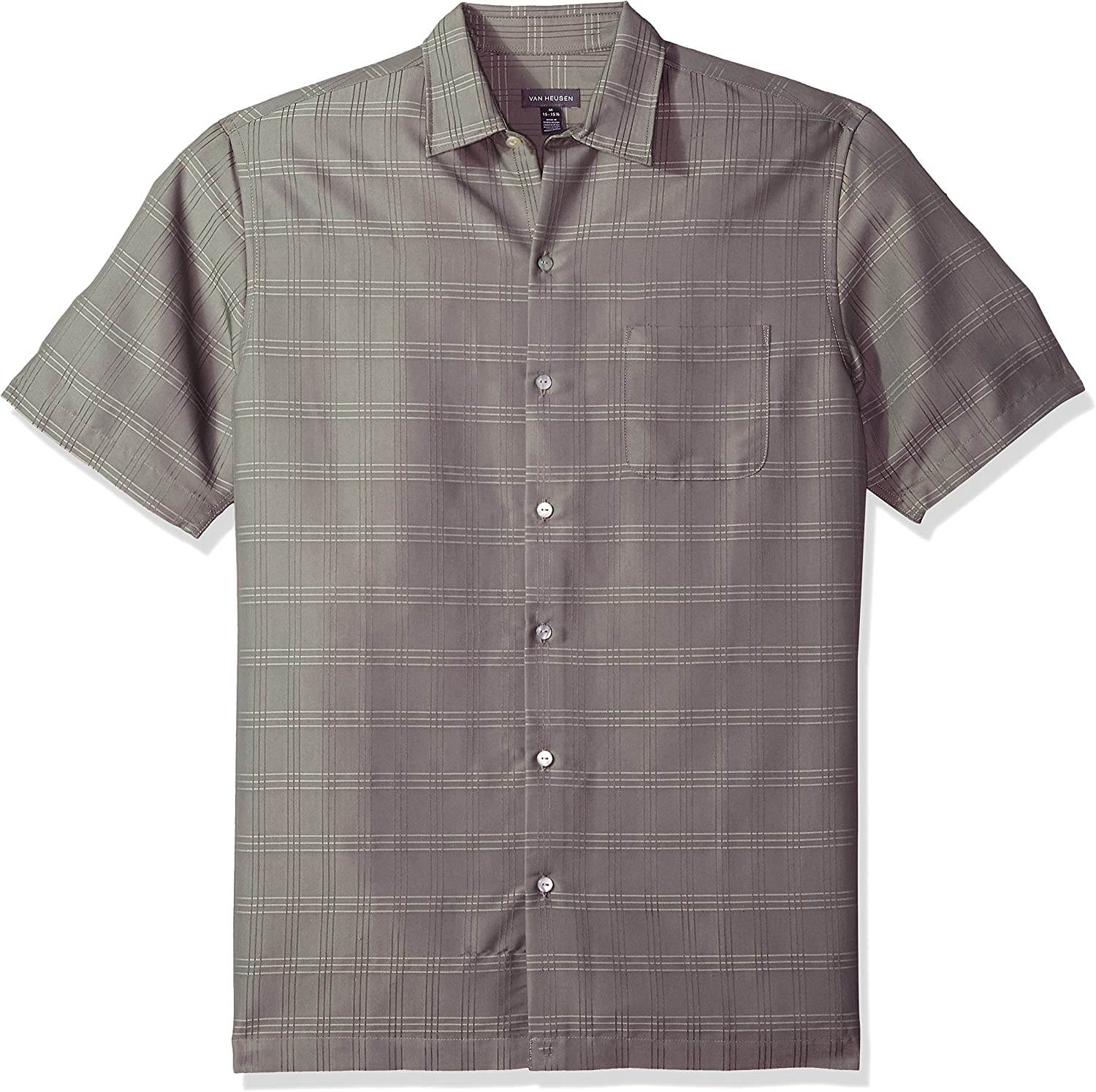 Van Heusen Men's Air Short Sleeve Button Down Poly Rayon Shirt (Discontinued by)