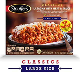 STOUFFER'S Satisfying Servings Lasagna with Meat & Sauce 19 oz Box (Frozen)