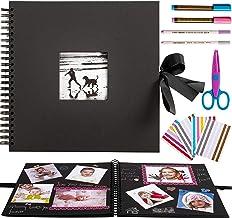 �lbum de Fotos Grande DIY para Pegar �lbum Scrapbooking 60 páginas Negras (30 Hojas) 30 x 30cm-Puedes Insertar tu Foto en la Ventana