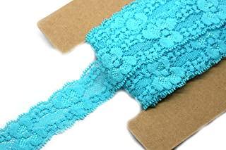 JLIKA Stretch Lace Elastic - 12 Yards - 1 Inch Wide - Trim Lace for Headbands Weddings (Turquoise)