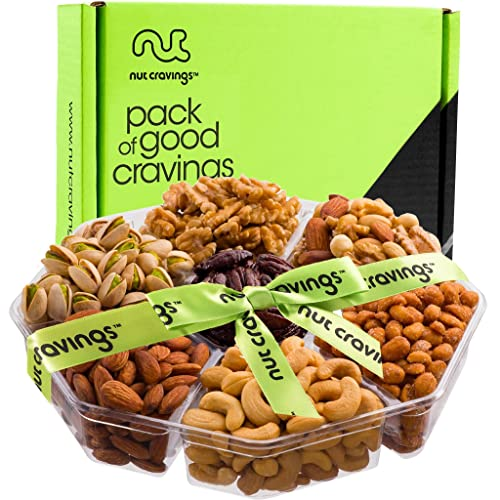 Gourmet Gift Basket Assortment, Fresh Nut Tray (7 Mix) - Variety Care Package, Birthday Party Food, Holiday Arrangement Platter, Healthy Snack Box for Families, Women, Men, Adults - Prime Delivery