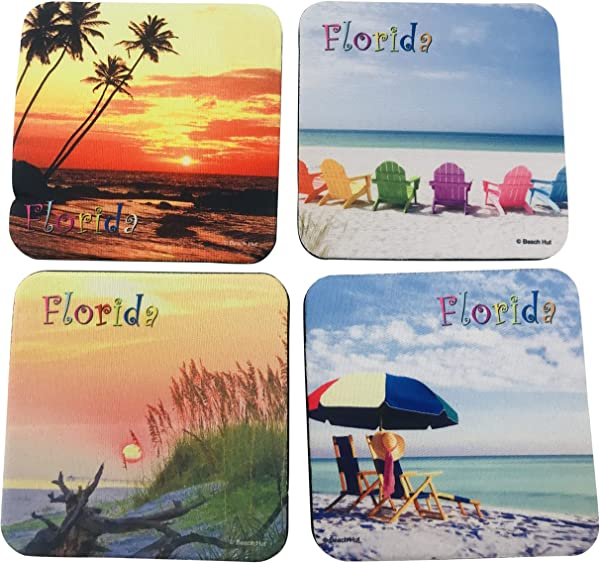Florida Coasters Beach Coastal Designs Souvenir Gift Drink Pads Pack Of 4