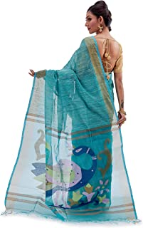 SareesofBengal Women's Handloom Muslin Dhakai Jamdani Silk Saree Sea Green Multicoloured