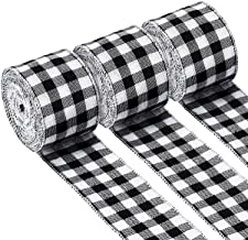 3 Rolls Gingham Ribbon Black and White Plaid Burlap Ribbon Christmas Wired Edge Ribbons for Christmas Gift Wrapping, Crafts Decoration (2.4 by 315 Inches)