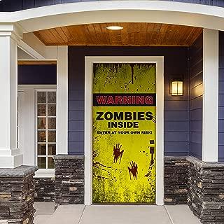 Victory Corps Zombies Inside - Halloween Front Door Banner Mural Sign Décor 36