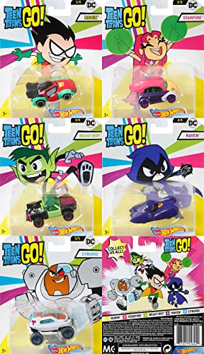 Hot Wheels DC Teen Titans Go Car Set 5 Autos Robin Starfire Beast Boy Raven Cyborg 1 64 DMH73