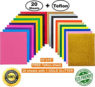 Heat Transfer Vinyl (HTV) 20 Sheets with 1 Gold Glitter, 1 Bonus Teflon 12''x10'' 19 Assorted Colors for Cameo, Cricut, Heat Press, DIY T-Shirts. Easy to Cut & Weed for Beginners & Professionals