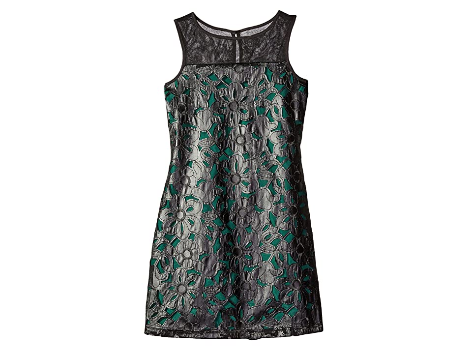 Us Angels Pleather Lace Sleeveless Illusion A-Line Dress (Big Kids) (Forest) Girl